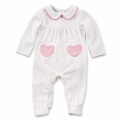 Mud Pie Baby Girl Velour Pink Heart Sleeper  Size 3-6 Months  NEW