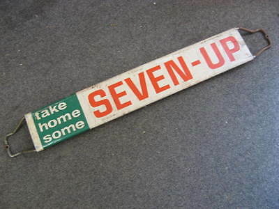 Vintage Original 7 Up Soda Door Push Advertising Sign Stout 1965 Country Store