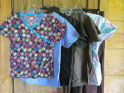 Lot of Five Scrub tops and one pant size Small