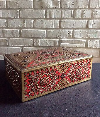 Antique LARGE Early 1900s Embossed Decrotive Tin Box