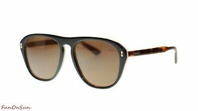 Gucci Unisex Sunglasses GG0128S 004 Havana Black/Brown Lens Authentic 56mm
