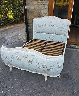 French Demi Corbeille Bed NEWLY UPHOLSTERED DOUBLE