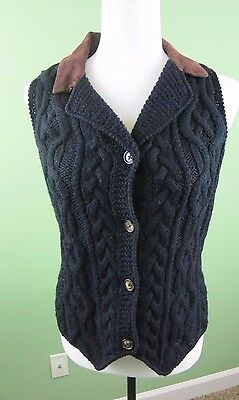 HAROLD'S Knitted by Hand Black 100% Wool Leather Vest SMALL D71