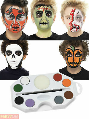 Halloween Smiffys Face Paint Make Up Pallet Fancy Dress Outfit Accessory Kit