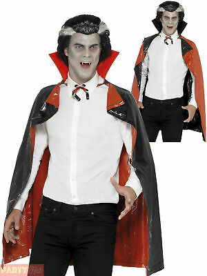 Adults PVC Reversible Cape Halloween Black Red Vampire Fancy Dress Accessory