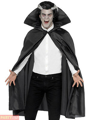Adult Black Fabric Cape Mens Ladies Halloween Vampire Fancy Dress Costume