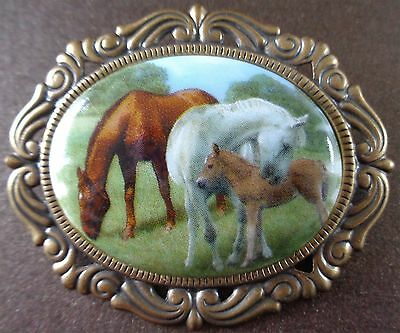 Beautiful Handmade Porcelain Cameo Brooch Country Farm Horse Family
