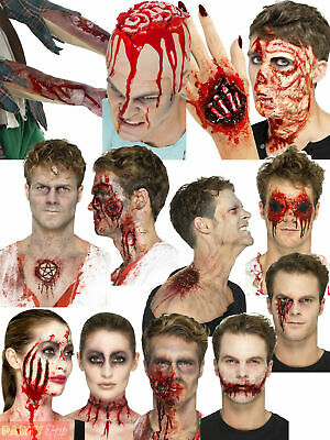 Halloween Latex Prosthetic Wound Kit Blood Make Up Zombie Fancy Dress Costume