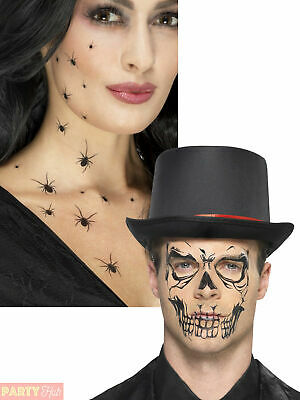 Adults Halloween Transfer Tattoos Spiders Skull Fancy Dress Costume Accessory