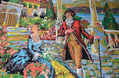 Antique needlepoint tapestry Renaissance Terrace complete large
