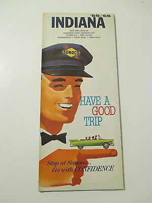 Vintage 1965-1966 SUNOCO INDIANA Gas Service Station Road Map