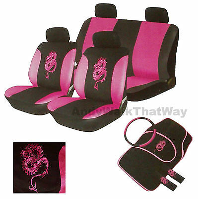 15 Pce Pink Black Dragon Car Seat Covers SeatBelt Steering Cover + Floor mat Set