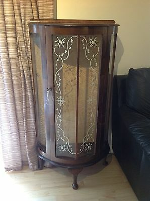 1950's Bow Fronted Display Cabinet