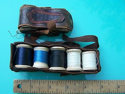 Old or Antique Sewing Cases - Leather - Thread Holders - Nice Old Finds!