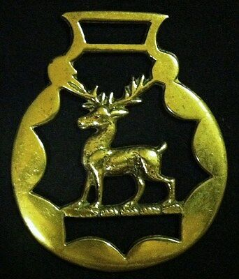 Vintage Heraldic circa 1920's STAG Horse Harness Brass England WOW YOUR WALLS!