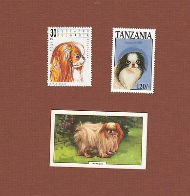 Japanese Chin dog stamps and card set of 3