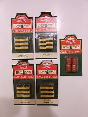 Coca Cola Town Square Collection Coke Bottle Cases & Red Barrels Lot of 5 NEW