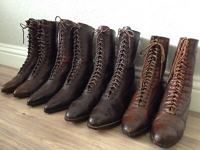 Victorian/Edwardian/1920's Leather Boots/Shoes Lot (4 Pairs of Boots)