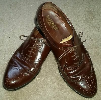 Hanover Brown Leather Wing Tip Dress Shoes Made in the USA EUC - Mens Size 11D