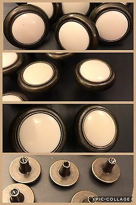 9 Knobs Pulls Round CERAMIC White & Brass Bronze Tone Cabinet Drawer Vintage