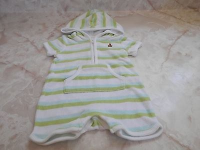 Baby Boy 0-3 Months Gap Striped Hooded Terry One Piece Romper Summer Outfit