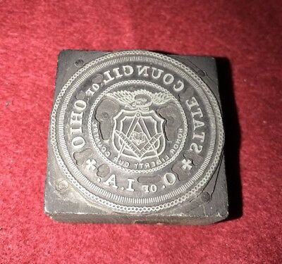 Vintage State Council of Ohio A.I. of O  Metal  Printers Block Plate --