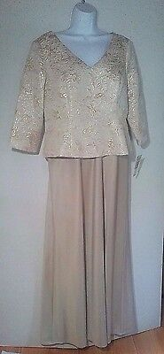 ALEX EVENINGS 14 Petite Gorgeous Jacquard Champagne Ivory Formal Gown $189