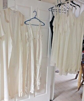 Lot Of 9 Vintage Nylon Slips Night Gown Robes Sears Miss Elaine Union Made 40 42