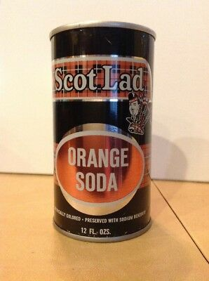 Vintage 1968 Scot Lad Orange Soda PT Straight Steel Soda Can, w/o bar code