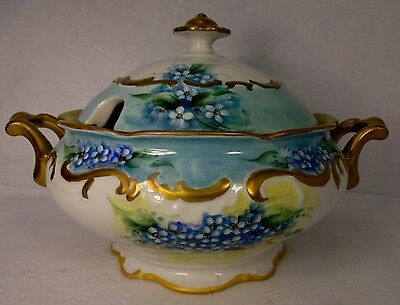 "SCHUMANN china FORGET-ME-NOT pattern Hand Painted Soup Tureen & Lid - 12"" H-to-H"