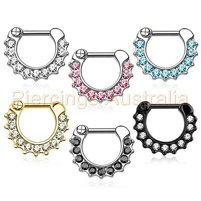 Gem Septum Clicker Ring Nose Piercing Jewellery