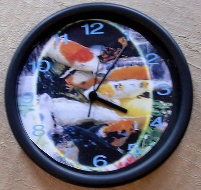 """KOI FISH POND 10"""" Wall Clock #0816 Batteries Included NEW"""