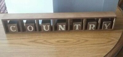 Vtg Homco Home Interiors Welcome/ Country Wood Block Sign Wall or Table Display