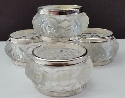 Vintage William Adams Genuine Lead Crystal Silver Frosted Roses Napkin Holders