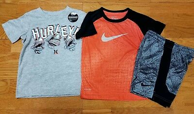 Nike and Hurley Boys Size 4 Short Sleeve T Shirt and Nike Shorts NWT Lot of 3