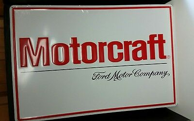 """Vintage Ford Motor Company Motorcraft Embossed Tin Advertising Sign 36"""""""