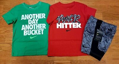 Nike Boys Size 4 Short Sleeve T Shirt and Shorts NWT Lot of 3