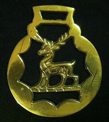 Vintage Heraldic Standing STAG DEER THIN Harness Brass England WOW YOUR WALLS!