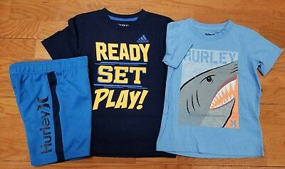 Hurley and Adidas Boys Size 4 T Shirt and Hurley Shorts NWT lot of 3