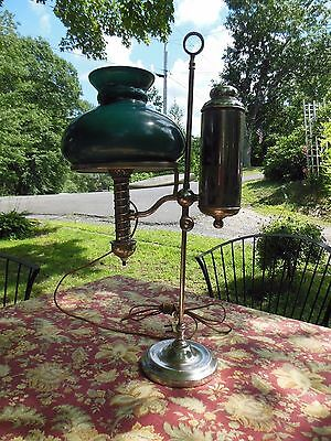Beautiful! Orig 1800s MANHATTAN BRASS CO NICKLE PLATED STUDENT LAMP Electrified