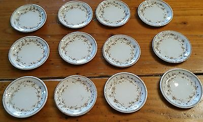12 Ironstone Brown and White Transferware Butter Pats Unmarked