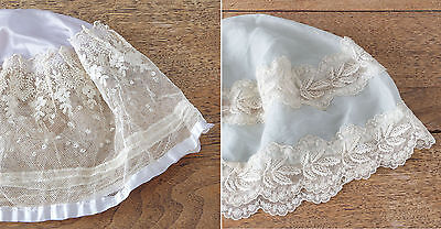 Two Vintage 1910s 1920s Silk and Embroidered Net Lace Boudoir Caps