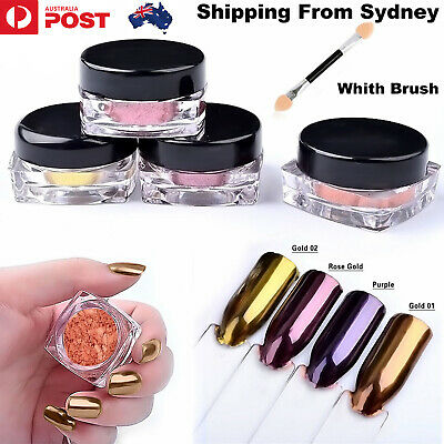 6 Colour Nail Glitter Pure Chrome Mirror Powder Silver Metal Magic Pigment Dust