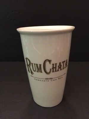 "Rum Chata Horchata Con Ron Ceramic Tumbler Gold Letters On White 5.5""T Mint"