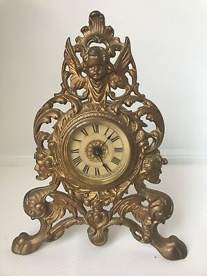 Antique Western Clock Co.  Cast Iron Mantle Clock, Cherub Figural Clock, Lot# 96