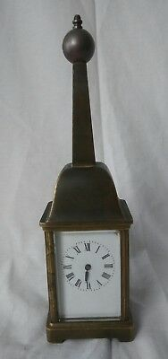 Antique Old French Brass Carriage Clock late 18th Early 19th Century w Finial
