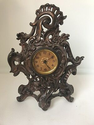 Antique Cast Iron Mantle Clock, Gilt Figural Clock, Lot# 95