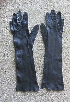 Vintage Black Soft Leather Gloves Women Ladies size SMAll Made in ITALY