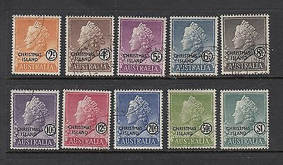 CHRISTMAS ISLAND: 1958 Queen's Head definitives set SG 1/10, very fine used.
