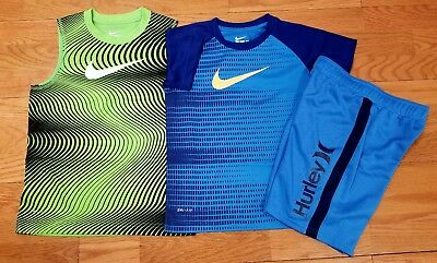 Nike Boys Size 7 Short Sleeve T Shirt and Hurley Shorts NWT Lot of 3
